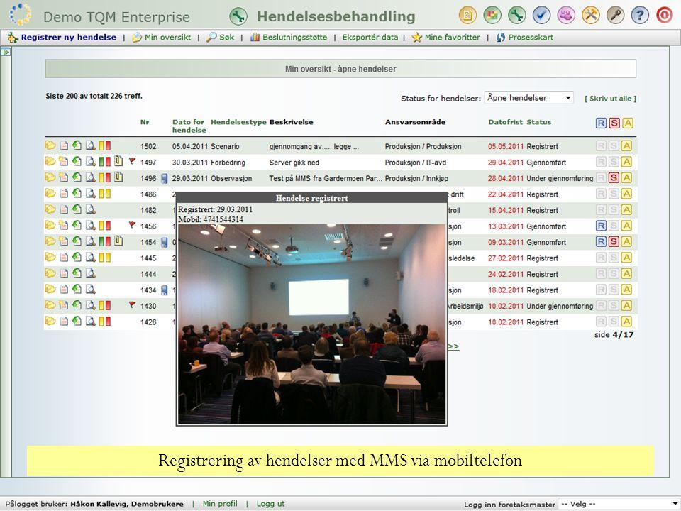 Registrering av hendelser med MMS via mobiltelefon