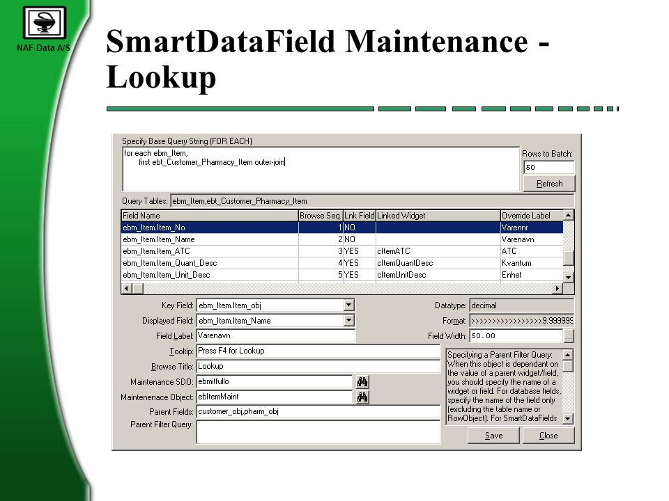 NAF-Data A/S SmartDataField Maintenance - Lookup