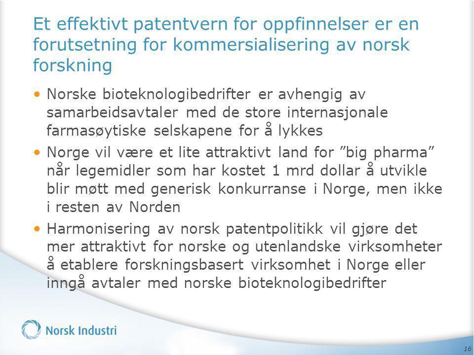16 Et effektivt patentvern for oppfinnelser er en forutsetning for kommersialisering av norsk forskning • Norske bioteknologibedrifter er avhengig av