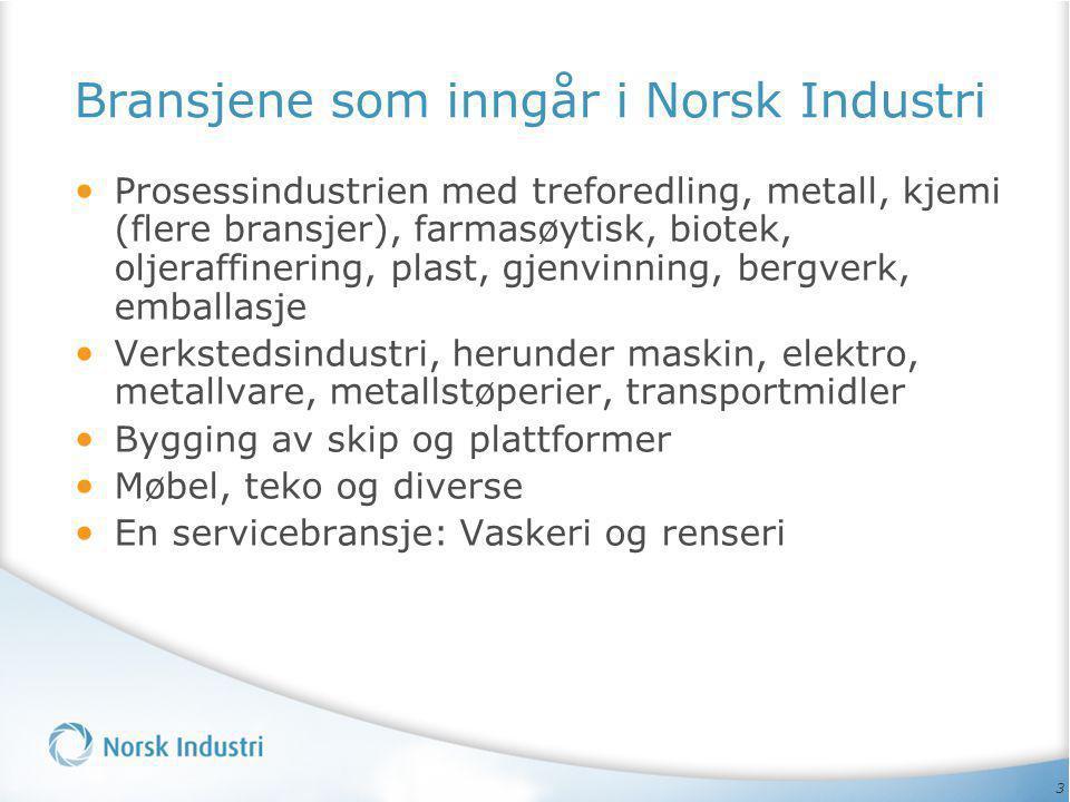 3 Bransjene som inngår i Norsk Industri • Prosessindustrien med treforedling, metall, kjemi (flere bransjer), farmasøytisk, biotek, oljeraffinering, p