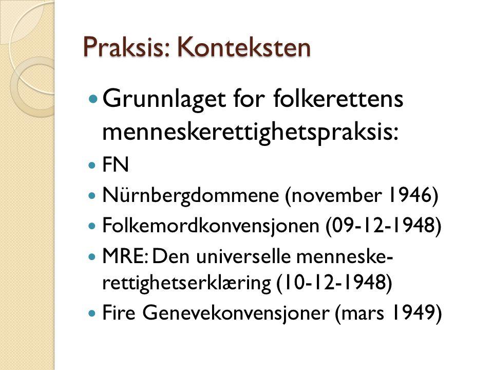 Praksis: Konteksten  Grunnlaget for folkerettens menneskerettighetspraksis:  FN  Nürnbergdommene (november 1946)  Folkemordkonvensjonen (09-12-194