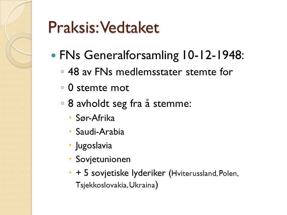 Praksis: Vedtaket  FNs Generalforsamling 10-12-1948: ◦ 48 av FNs medlemsstater stemte for ◦ 0 stemte mot ◦ 8 avholdt seg fra å stemme:  Sør-Afrika 