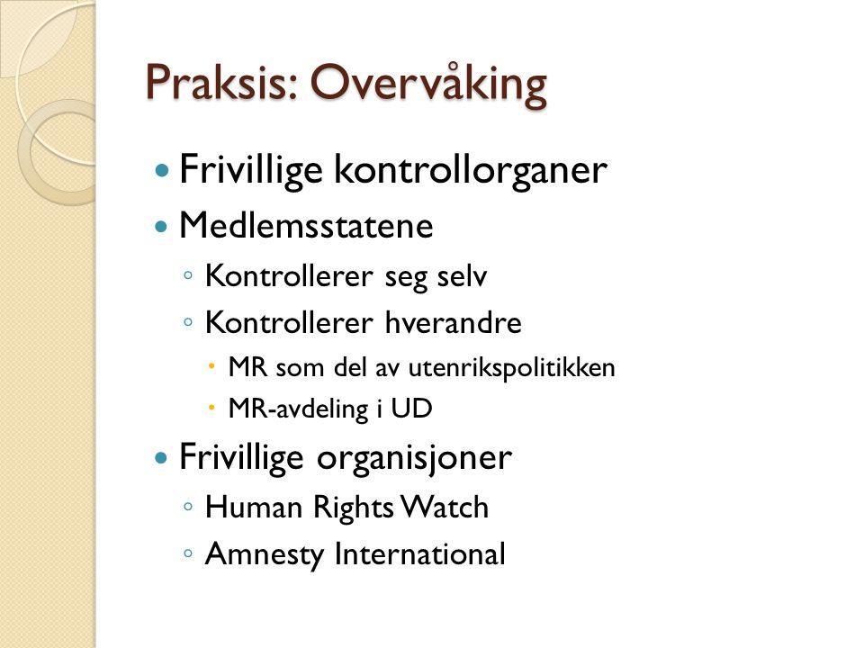 Praksis: Overvåking  Frivillige kontrollorganer  Medlemsstatene ◦ Kontrollerer seg selv ◦ Kontrollerer hverandre  MR som del av utenrikspolitikken
