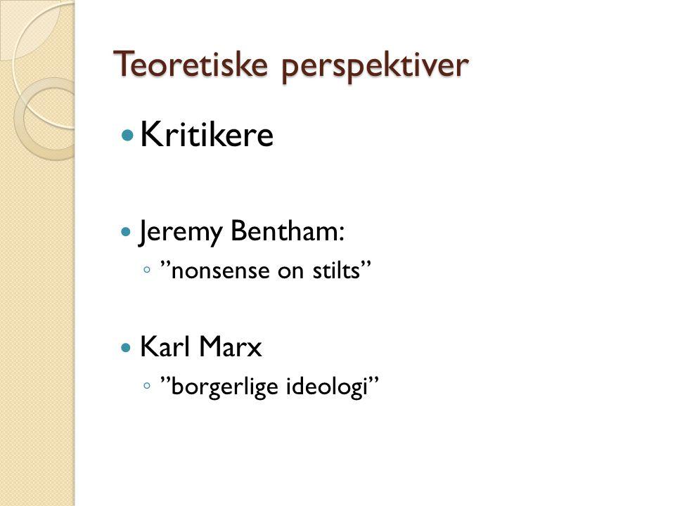 "Teoretiske perspektiver  Kritikere  Jeremy Bentham: ◦ ""nonsense on stilts""  Karl Marx ◦ ""borgerlige ideologi"""