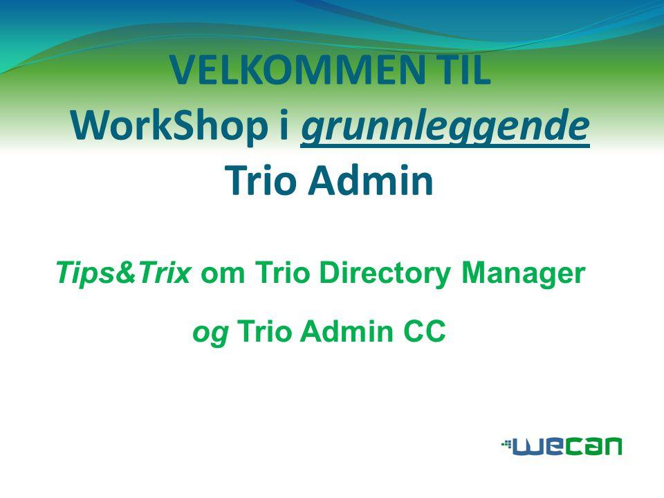 Tips om Trio Directory Manager  Kolonneoppsettet i DM (sentralprioritet, PBX…)  Ta ut RAPPORT – veldig greit når man skal sjekke databasen/rydde.