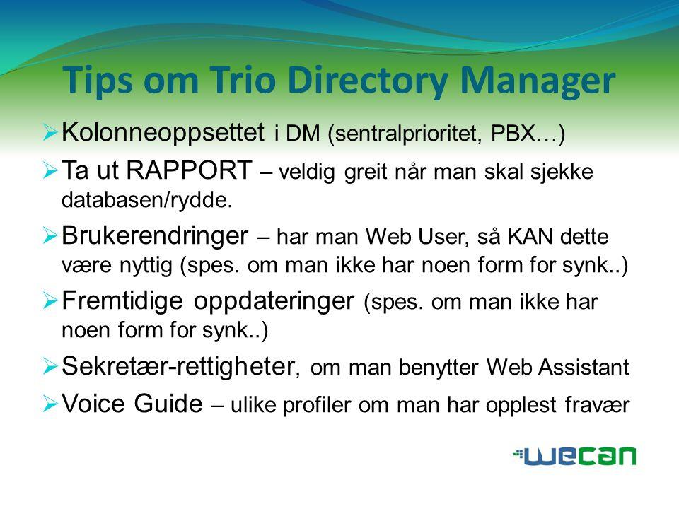 ..flere tips om Trio Directory Manager  Gjøre endringer i Ekstrafelt for flere abonnenter samtidig (fra 4.x)  Flytte flere abonnenter fra en avdeling til en annen samtidig  Rydde i «rotete» Oppgaver og Tittler (skrevet på flere ulike måter….)  Ikke gyldige tegn ved innmating av data: * \ /., %  Husk nytten av INFOTRE for å lagre informasjon/nummer til eksterne kontakter