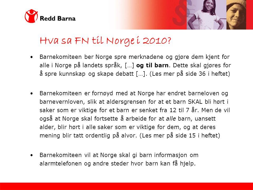 Hva sa FN til Norge i 2010.