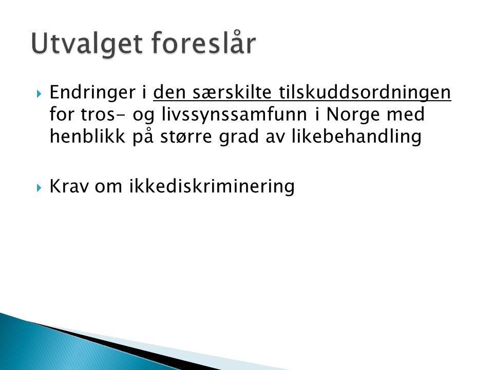  Endringer i den særskilte tilskuddsordningen for tros- og livssynssamfunn i Norge med henblikk på større grad av likebehandling  Krav om ikkediskri