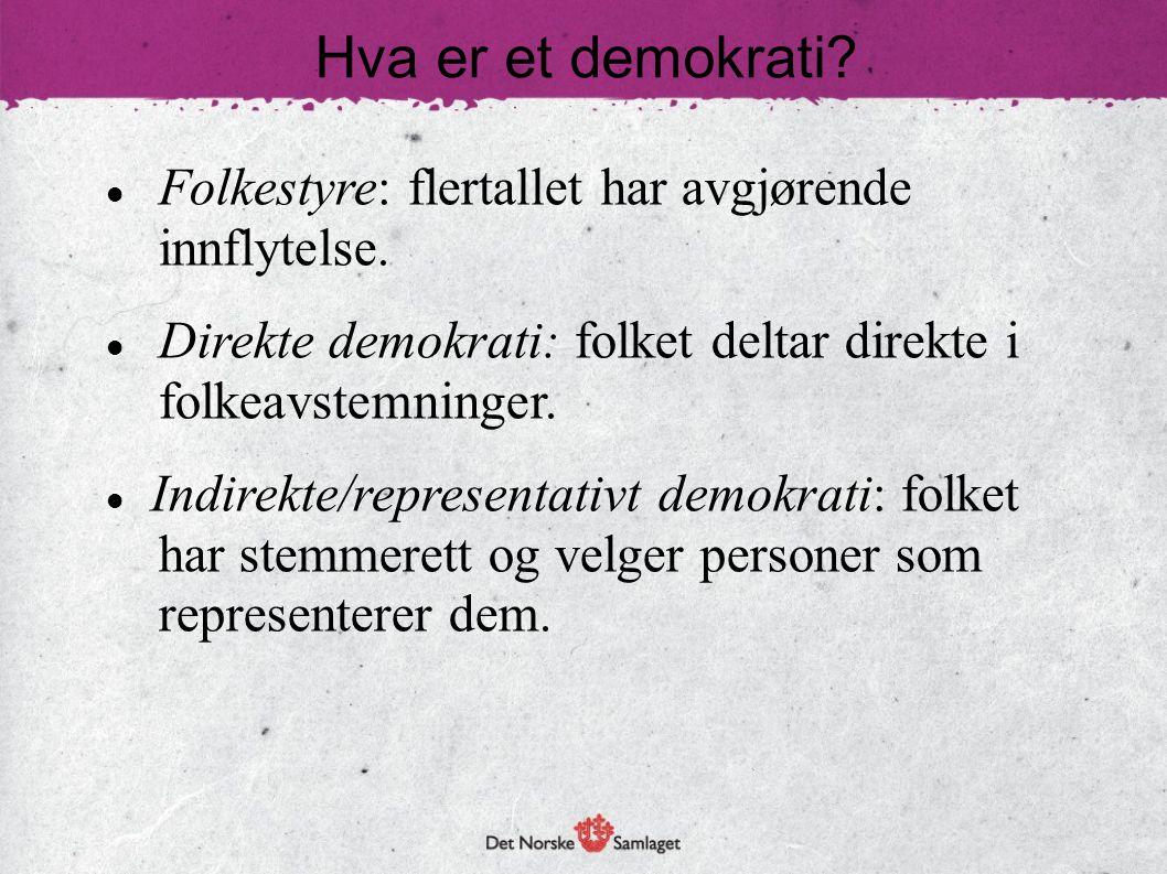 Hva er et demokrati?  Folkestyre: flertallet har avgjørende innflytelse.  Direkte demokrati: folket deltar direkte i folkeavstemninger.  Indirekte/