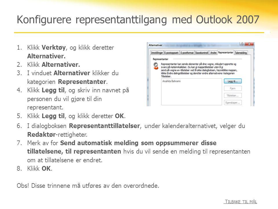 Konfigurere representanttilgang med Outlook 2010 1.Klikk kategorien Fil.