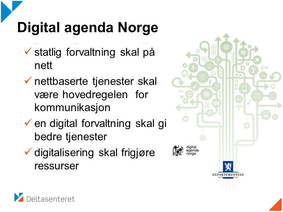  statlig forvaltning skal på nett  nettbaserte tjenester skal være hovedregelen for kommunikasjon  en digital forvaltning skal gi bedre tjenester  digitalisering skal frigjøre ressurser