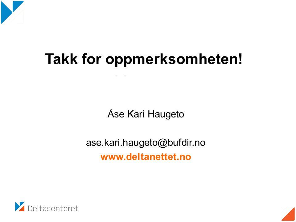 Åse Kari Haugeto ase.kari.haugeto@bufdir.no www.deltanettet.no