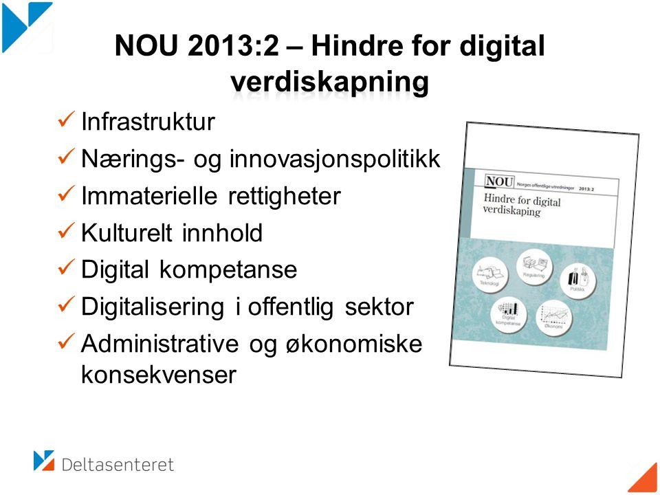  Infrastruktur  Nærings- og innovasjonspolitikk  Immaterielle rettigheter  Kulturelt innhold  Digital kompetanse  Digitalisering i offentlig sektor  Administrative og økonomiske konsekvenser