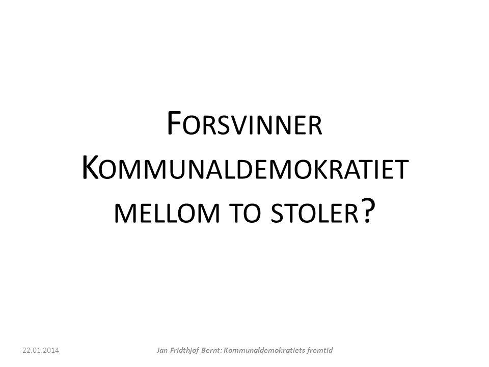 F ORSVINNER K OMMUNALDEMOKRATIET MELLOM TO STOLER .