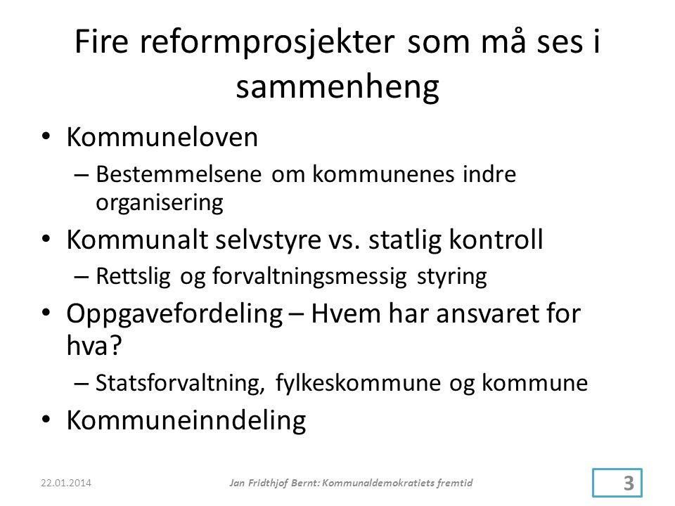 Fire reformprosjekter som må ses i sammenheng • Kommuneloven – Bestemmelsene om kommunenes indre organisering • Kommunalt selvstyre vs.