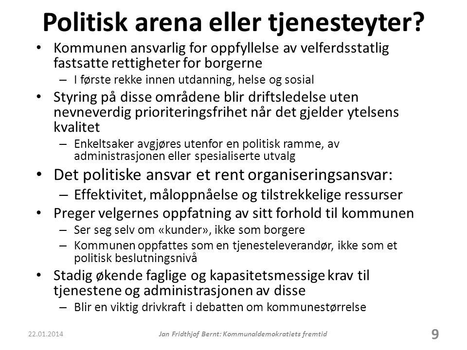 Politisk arena eller tjenesteyter.