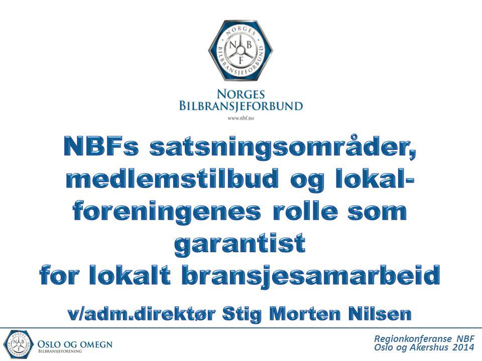Norges Bilbransjeforbund (NBF) •Arbeidsgiver- og bransjeorganisasjon for bilforhandlere og verksteder, etablert 1928 •Antall bedrifter/medlemmer> 1240 bedrifter •Omsetning i medlemsbedriftene> 100 milliarder •Antall ansatte i medlemsbedriftene> 20.670 ansatte NBF er organisasjonen for de seriøse og profesjonelle aktørene i norsk bilbransje