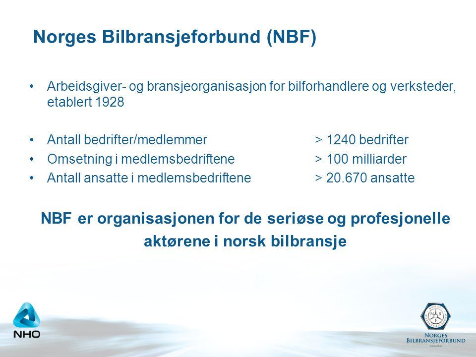Norges Bilbransjeforbund (NBF) •Arbeidsgiver- og bransjeorganisasjon for bilforhandlere og verksteder, etablert 1928 •Antall bedrifter/medlemmer> 1240