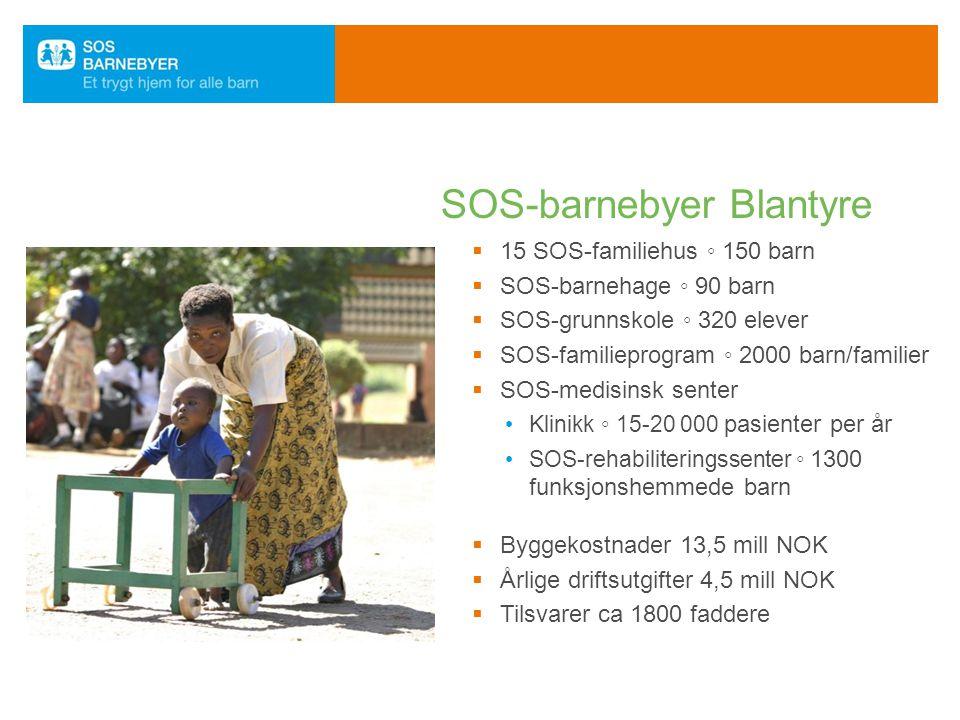  15 SOS-familiehus ◦ 150 barn  SOS-barnehage ◦ 90 barn  SOS-grunnskole ◦ 320 elever  SOS-familieprogram ◦ 2000 barn/familier  SOS-medisinsk sente