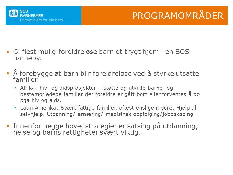 SOS-BARNEBYER NORGE  483 millioner i 2010  12 % gjennomsnittlig årlig vekst siden 2000  82% går til formålet  Finansieringsansvar for 177 SOS-program i 42 land  230.000 givere, inkludert 96.000 faddere  600 frivillige, 1200 skole/bhg  6 hovedsamarbeidspartnere, 100 små og store bedrifter Norges største på innsamling