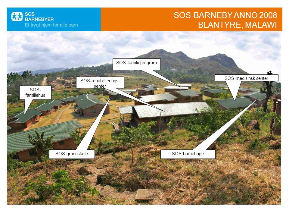  15 SOS-familiehus ◦ 150 barn  SOS-barnehage ◦ 90 barn  SOS-grunnskole ◦ 320 elever  SOS-familieprogram ◦ 2000 barn/familier  SOS-medisinsk senter •Klinikk ◦ 15-20 000 pasienter per år •SOS-rehabiliteringssenter ◦ 1300 funksjonshemmede barn  Byggekostnader 13,5 mill NOK  Årlige driftsutgifter 4,5 mill NOK  Tilsvarer ca 1800 faddere SOS-barnebyer Blantyre