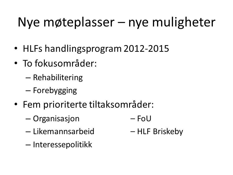 Nye møteplasser – nye muligheter • HLFs handlingsprogram 2012-2015 • To fokusområder: – Rehabilitering – Forebygging • Fem prioriterte tiltaksområder: