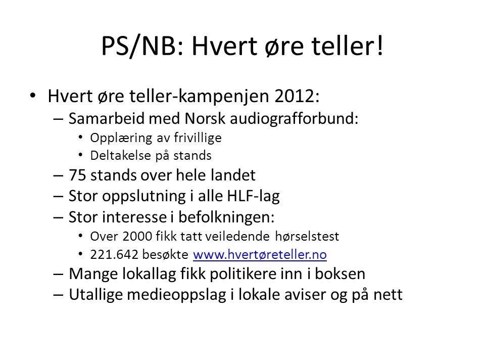 PS/NB: Hvert øre teller! • Hvert øre teller-kampenjen 2012: – Samarbeid med Norsk audiografforbund: • Opplæring av frivillige • Deltakelse på stands –