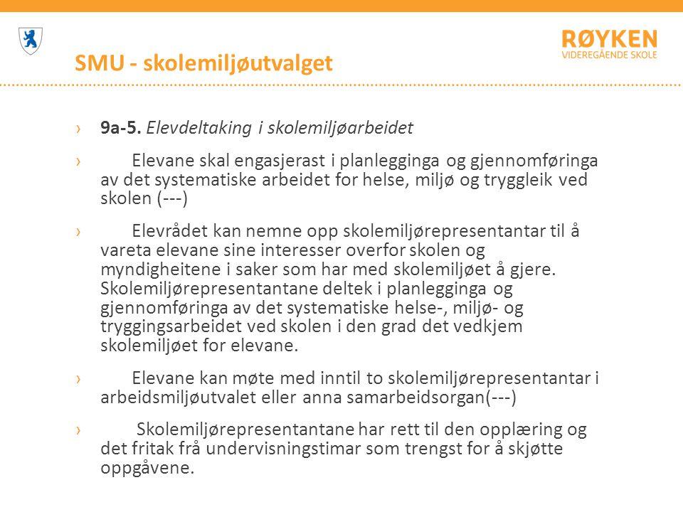SMU - skolemiljøutvalget ›9a-5. Elevdeltaking i skolemiljøarbeidet › Elevane skal engasjerast i planlegginga og gjennomføringa av det systematiske arb