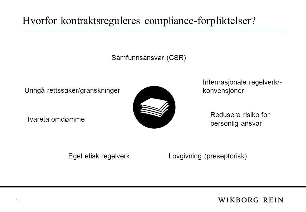 10 Hvorfor kontraktsreguleres compliance-forpliktelser? Samfunnsansvar (CSR) Internasjonale regelverk/- konvensjoner Lovgivning (preseptorisk)Eget eti