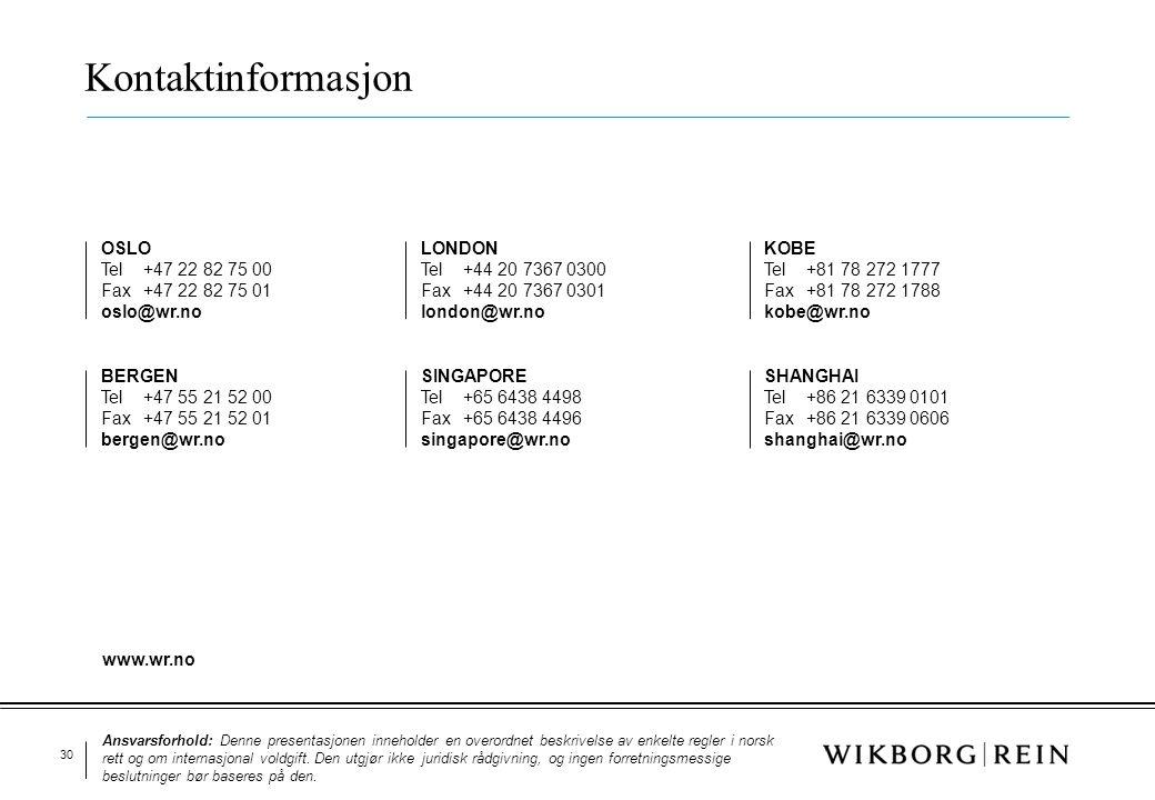 30 Kontaktinformasjon OSLO Tel+47 22 82 75 00 Fax+47 22 82 75 01 oslo@wr.no BERGEN Tel +47 55 21 52 00 Fax +47 55 21 52 01 bergen@wr.no KOBE Tel+81 78
