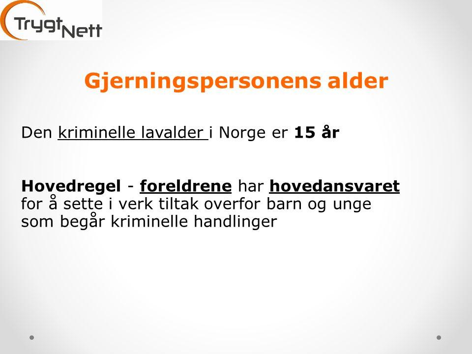 Gjerningspersonens alder Den kriminelle lavalder i Norge er 15 år Hovedregel - foreldrene har hovedansvaret for å sette i verk tiltak overfor barn og unge som begår kriminelle handlinger