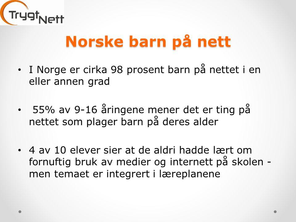 Norske barn på nett • I Norge er cirka 98 prosent barn på nettet i en eller annen grad • 55% av 9-16 åringene mener det er ting på nettet som plager barn på deres alder • 4 av 10 elever sier at de aldri hadde lært om fornuftig bruk av medier og internett på skolen - men temaet er integrert i læreplanene