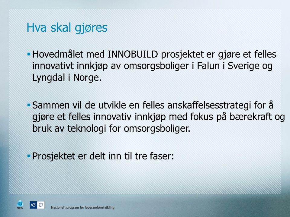 Hva skal gjøres  Hovedmålet med INNOBUILD prosjektet er gjøre et felles innovativt innkjøp av omsorgsboliger i Falun i Sverige og Lyngdal i Norge.