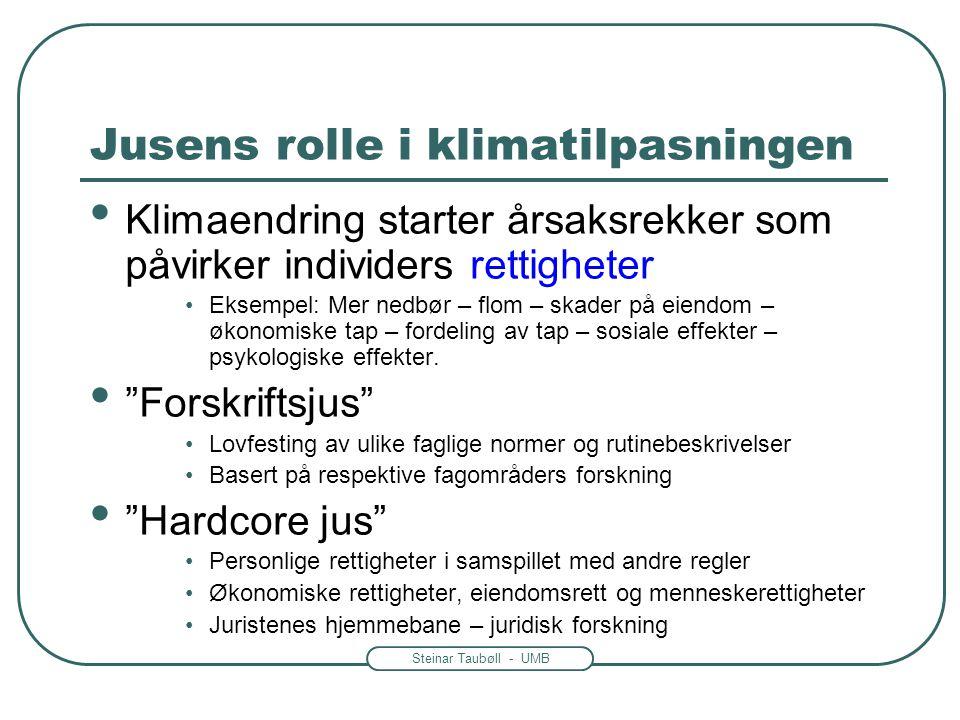Steinar Taubøll - UMB Jusens rolle i klimatilpasningen • Klimaendring starter årsaksrekker som påvirker individers rettigheter •Eksempel: Mer nedbør –
