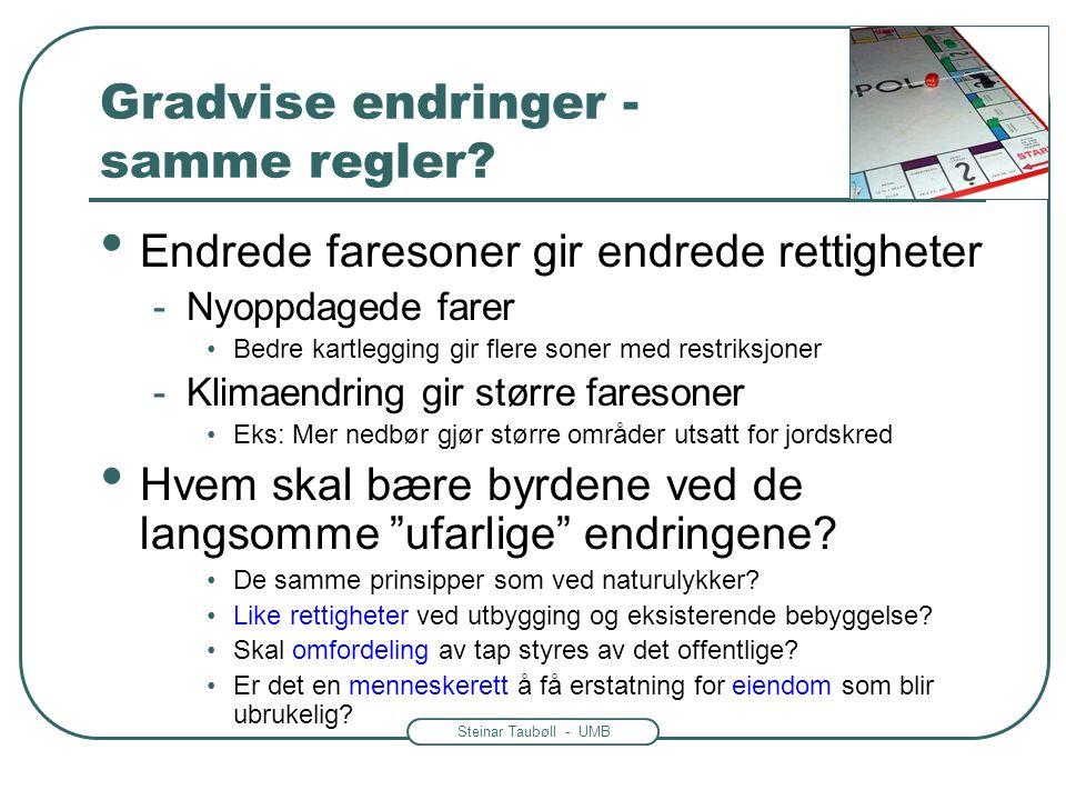 Steinar Taubøll - UMB Gradvise endringer - samme regler? • Endrede faresoner gir endrede rettigheter -Nyoppdagede farer •Bedre kartlegging gir flere s