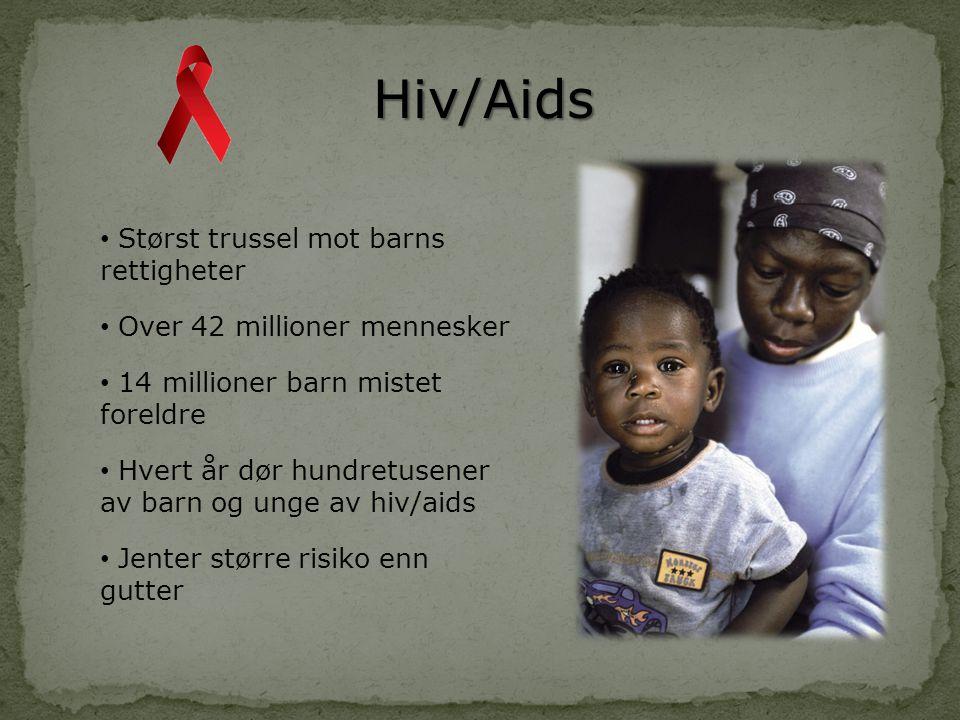 Hiv/Aids • Størst trussel mot barns rettigheter • Over 42 millioner mennesker • 14 millioner barn mistet foreldre • Hvert år dør hundretusener av barn