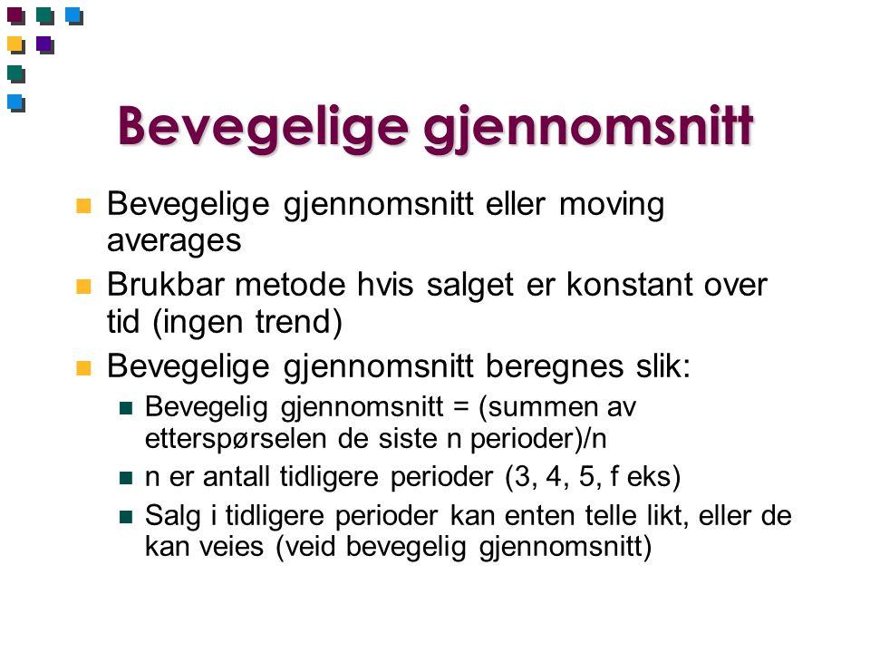 Bevegelige gjennomsnitt n Bevegelige gjennomsnitt eller moving averages n Brukbar metode hvis salget er konstant over tid (ingen trend) n Bevegelige g