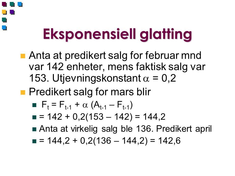 Eksponensiell glatting n Anta at predikert salg for februar mnd var 142 enheter, mens faktisk salg var 153. Utjevningskonstant  = 0,2 n Predikert sal