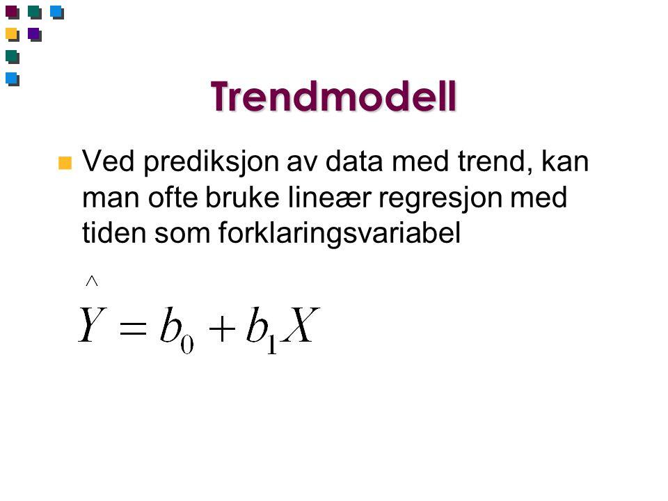 Trendmodell n Ved prediksjon av data med trend, kan man ofte bruke lineær regresjon med tiden som forklaringsvariabel