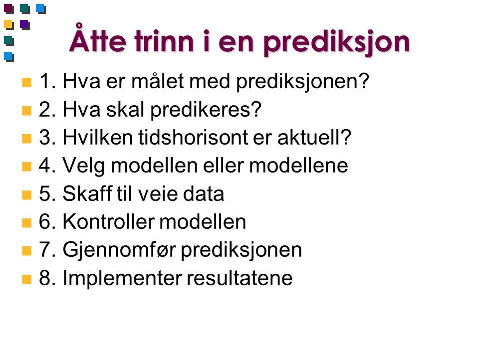 Åtte trinn i en prediksjon n 1. Hva er målet med prediksjonen? n 2. Hva skal predikeres? n 3. Hvilken tidshorisont er aktuell? n 4. Velg modellen elle