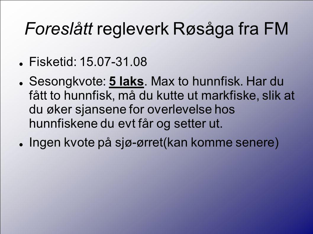 Foreslått regleverk Røsåga fra FM  Fisketid: 15.07-31.08  Sesongkvote: 5 laks.