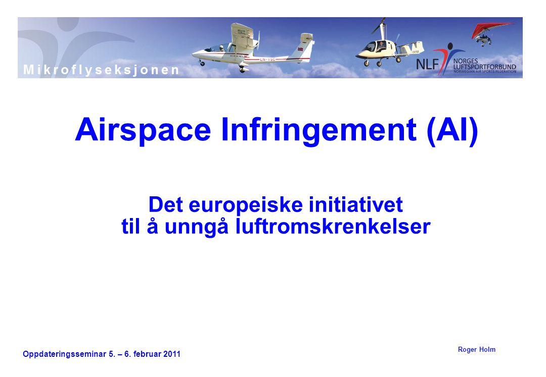 Oppdateringsseminar 5. – 6. februar 2011 Det europeiske initiativet til å unngå luftromskrenkelser Airspace Infringement (AI) Roger Holm