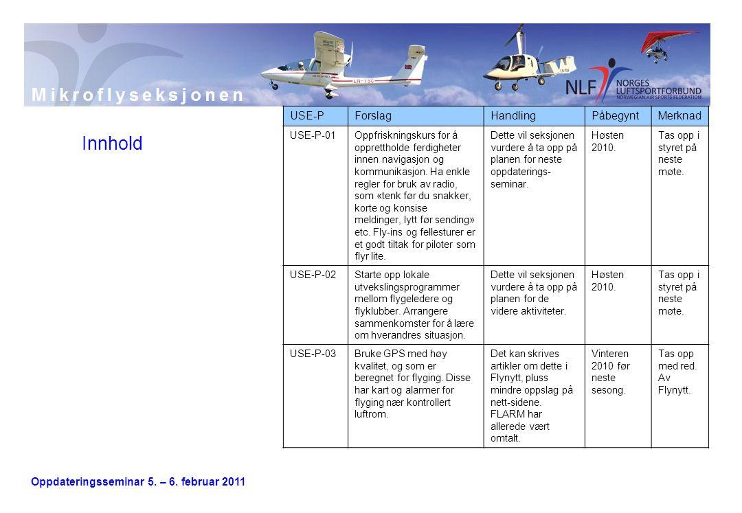 Oppdateringsseminar 5. – 6. februar 2011 Innhold USE-PForslagHandlingPåbegyntMerknad USE-P-01Oppfriskningskurs for å opprettholde ferdigheter innen na