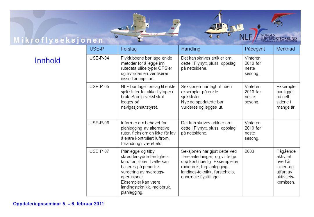 Oppdateringsseminar 5. – 6. februar 2011 Innhold USE-PForslagHandlingPåbegyntMerknad USE-P-04Flyklubbene bør lage enkle metoder for å legge inn ruteda