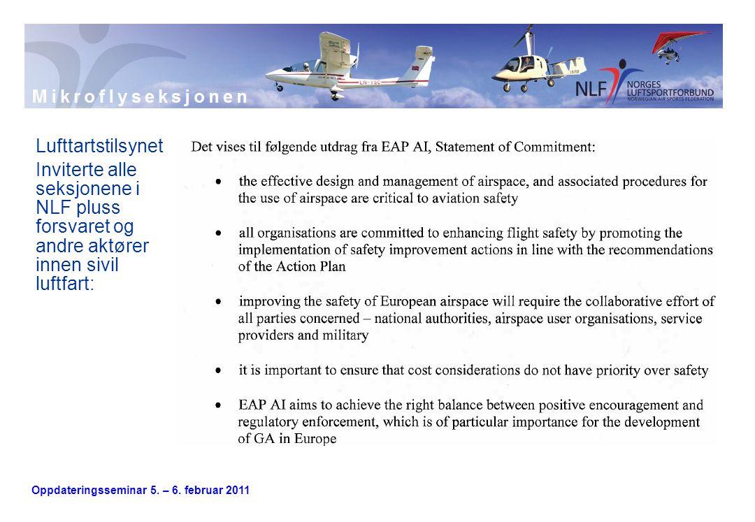 Oppdateringsseminar 5. – 6. februar 2011 Lufttartstilsynet Inviterte alle seksjonene i NLF pluss forsvaret og andre aktører innen sivil luftfart:
