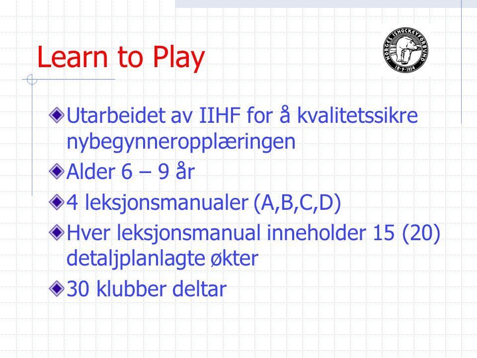 Learn to Play Utarbeidet av IIHF for å kvalitetssikre nybegynneropplæringen Alder 6 – 9 år 4 leksjonsmanualer (A,B,C,D) Hver leksjonsmanual inneholder 15 (20) detaljplanlagte økter 30 klubber deltar
