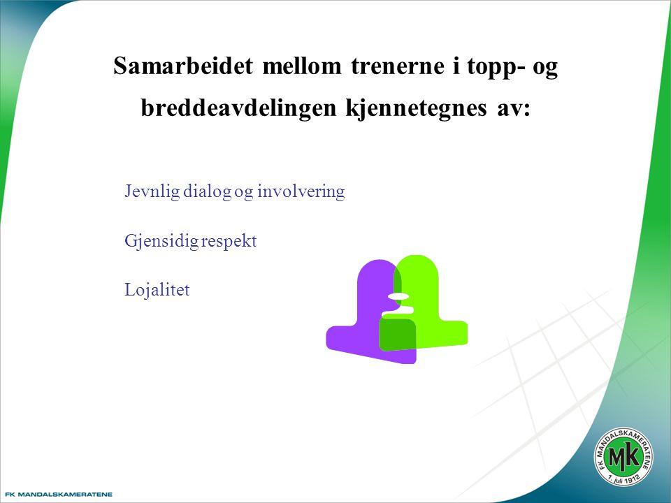 Samarbeidet mellom trenerne i topp- og breddeavdelingen kjennetegnes av: Jevnlig dialog og involvering Gjensidig respekt Lojalitet