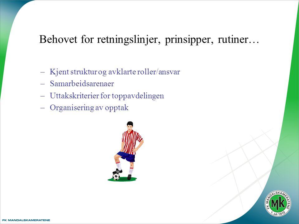 Behovet for retningslinjer, prinsipper, rutiner… –Kjent struktur og avklarte roller/ansvar –Samarbeidsarenaer –Uttakskriterier for toppavdelingen –Organisering av opptak