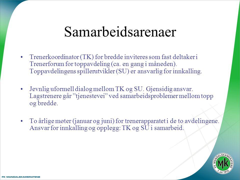 Samarbeidsarenaer •Trenerkoordinator (TK) for bredde inviteres som fast deltaker i Trenerforum for toppavdeling (ca.