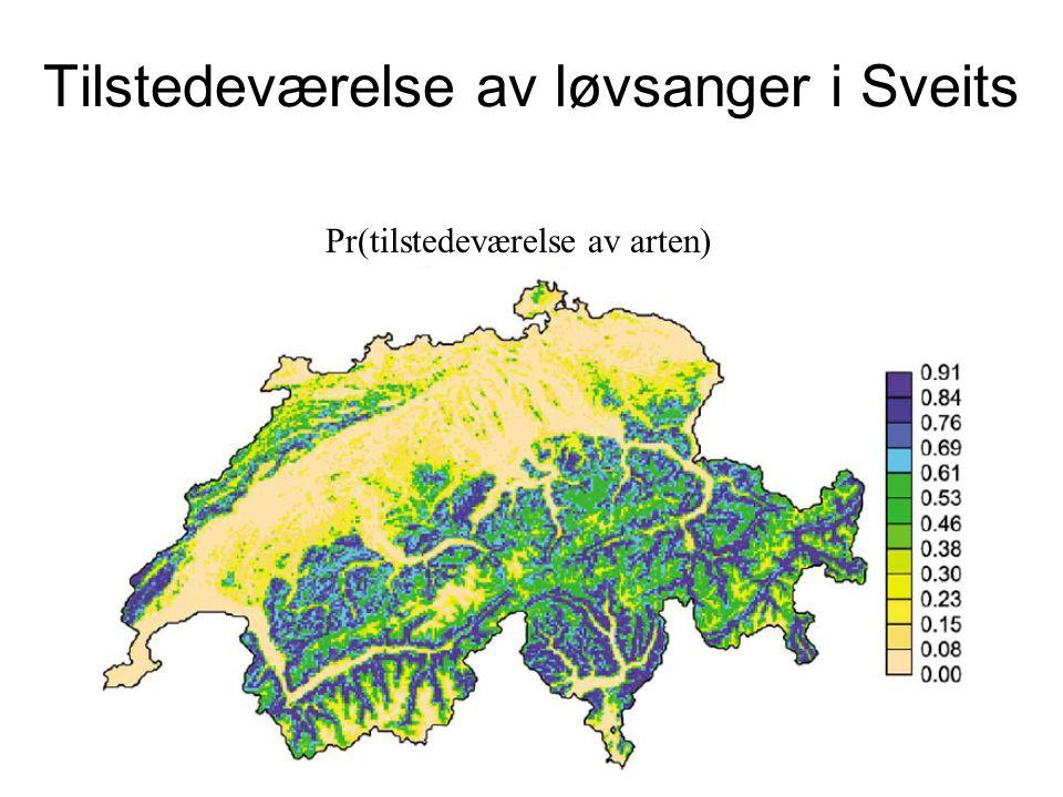 Tilstedeværelse av løvsanger i Sveits Pr(tilstedeværelse av arten)